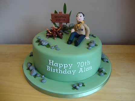 To Celebrate Alans 70th The Family Ordered A Cake With Scouting Theme Victoria Sandwich Featured Model Of Alan In His Scouters Uniform